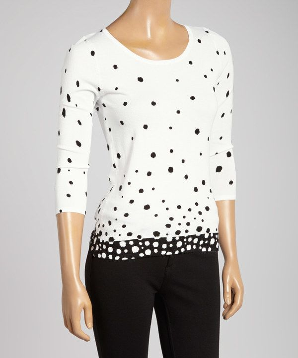 Look at this Colour Works Black & White Polka Dot Boatneck Top on #zulily today!