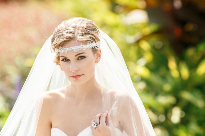 White lace and rhinestones are the perfect details in this gorgeous bridal headband. See more here: http://www.cloenoeldesigns.com
