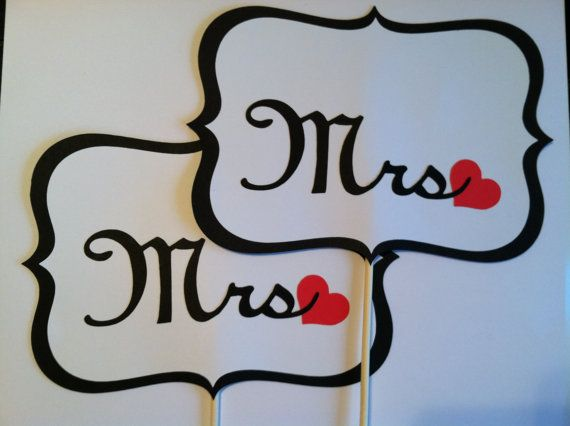 Wedding photo props, photo booth props, Mrs and Mrs on a stick