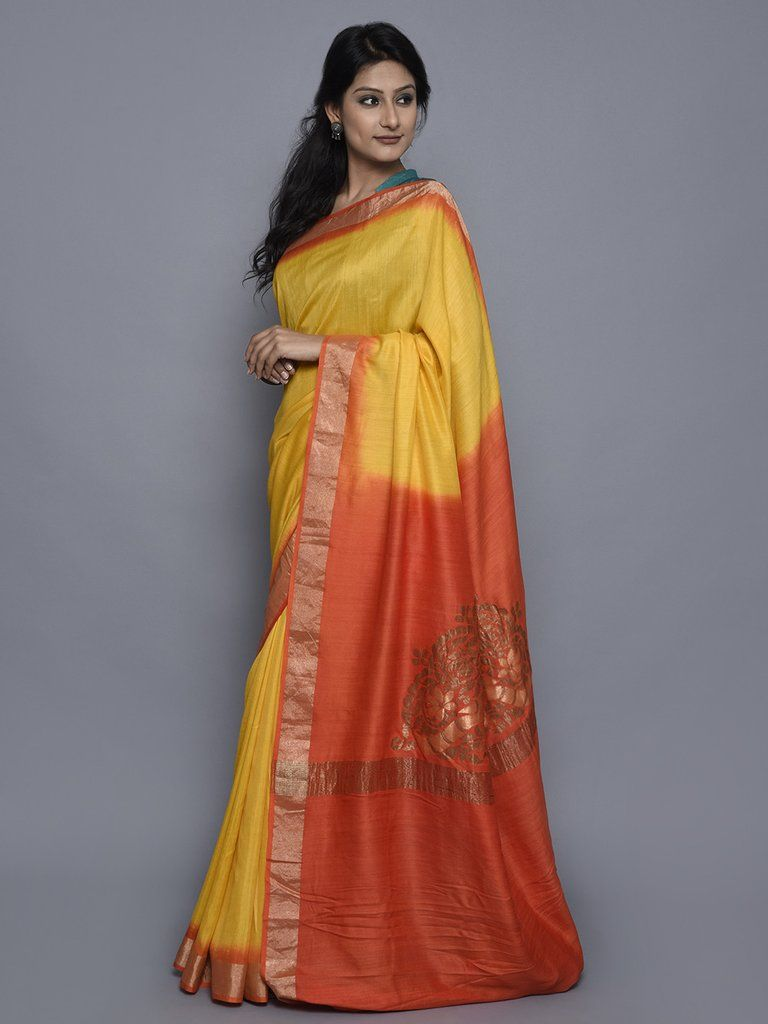 Yellow Orange Hand Woven Banarasi Cotton Silk Saree