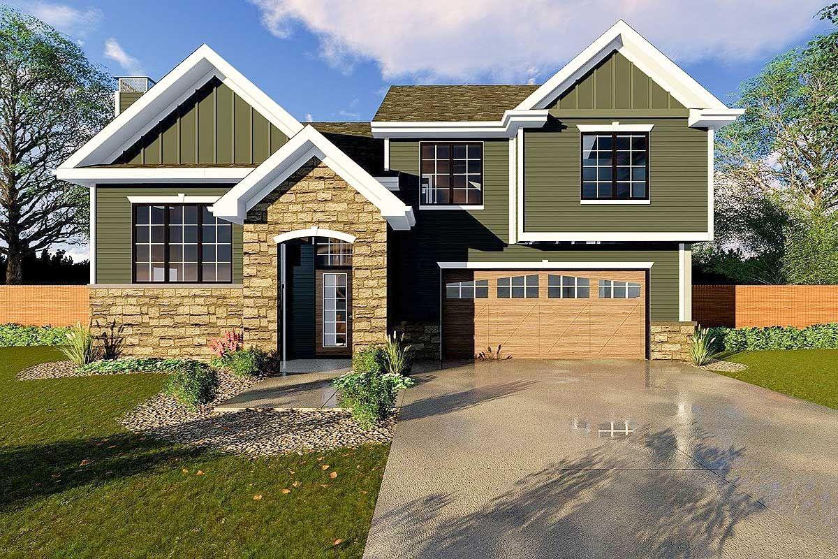 Plan 62526DJ Split Level House Plan With Upstairs Laundry