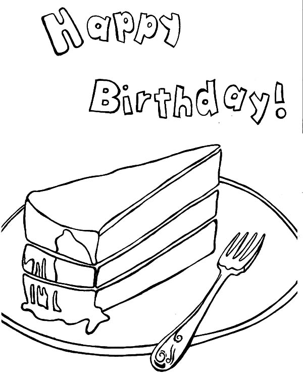 Happy Birthday Cake Slice Coloring Pages Best Place To Color Coloring Pages Cake Drawing Colorful Cakes