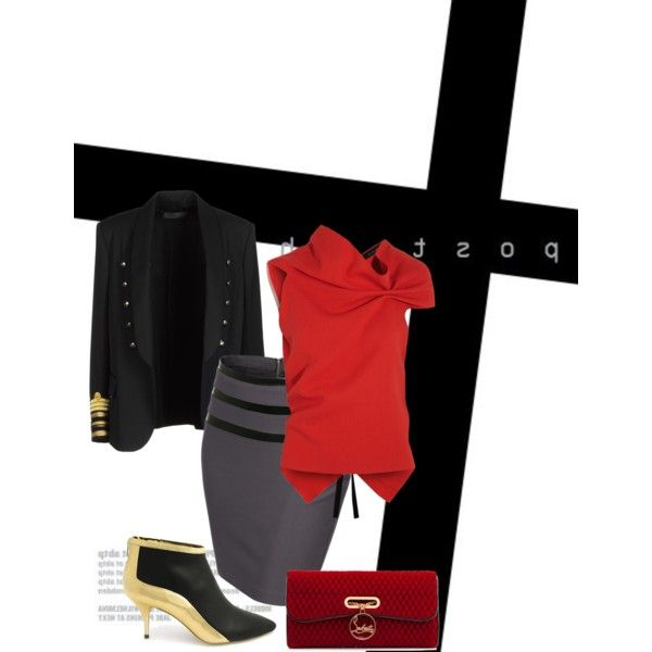 Untitled #109 by kerai-rose on Polyvore featuring polyvore, fashion, style, Roland Mouret, Balmain, J.TOMSON, Loeffler Randall and Christian Louboutin
