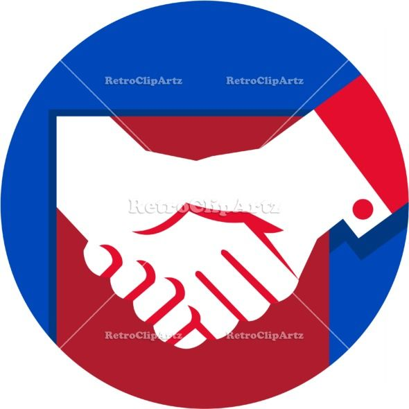 Business Deal Handshake Circle Retro Vector Stock Illustration. illustration of a hand shaking business deal set inside circle done in retro style. #illustration #BusinessDealHandshake