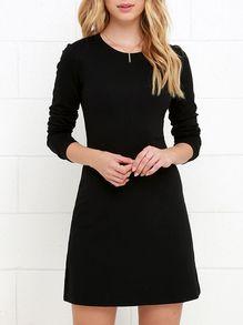 58df76c3011b Vestido manga larga cuello redondo -negro | outfits | Vestidos ...