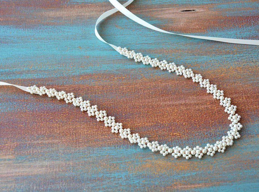 Wedding Belt, Pearl Sash Belt, Belt for Wedding Dress, Bridal Thin Belt, Skinny Pearl Sash, For Bride, For Bridesmaid, Prom, Rose Wire Belt