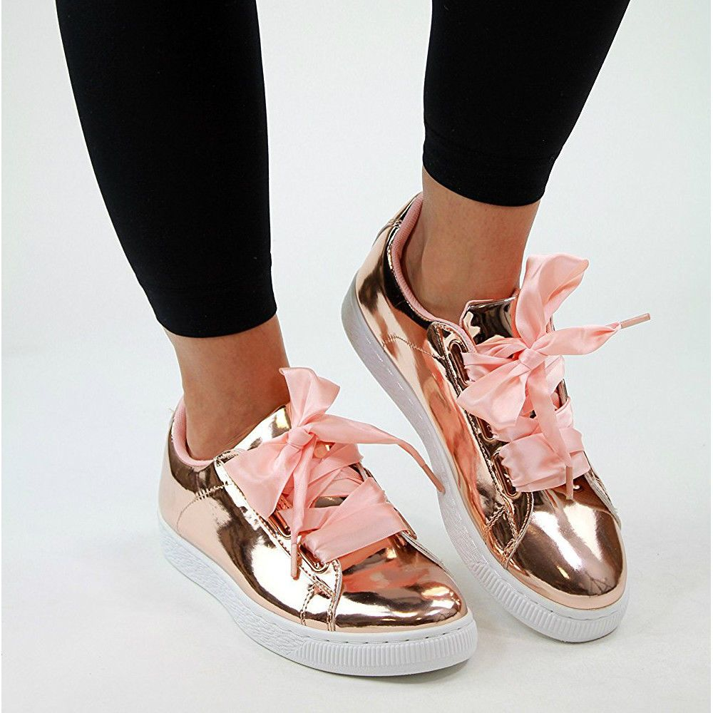 d7da99accc Womens Flat Ribbon Laces Plimsolls Metallic Patent Pink Rose Gold Trainers  Shoes