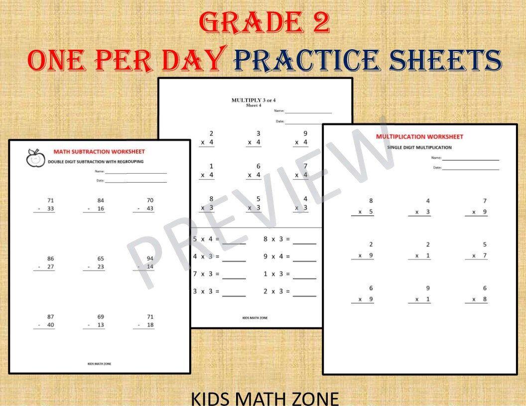 GRADE 2 MATH BUNDLE one per day (110 Worksheets) / pdf