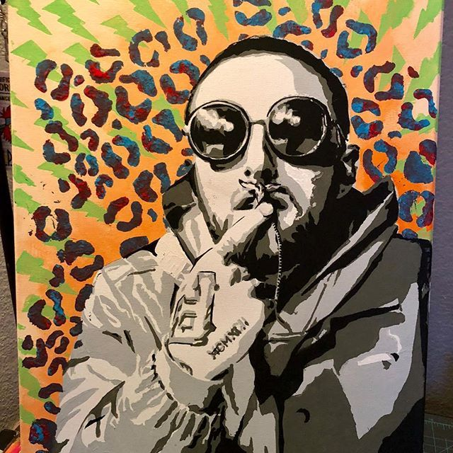 My painting of Mac Miller. Acrylic on canvas #mac #macmiller #faces #blueslidepark #bestdayever #arianagrande #donaldtrump