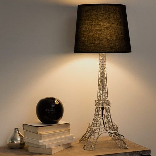 lampe en m tal et abat jour en coton noire h 73 cm monument tour eiffel banc per fer jo. Black Bedroom Furniture Sets. Home Design Ideas