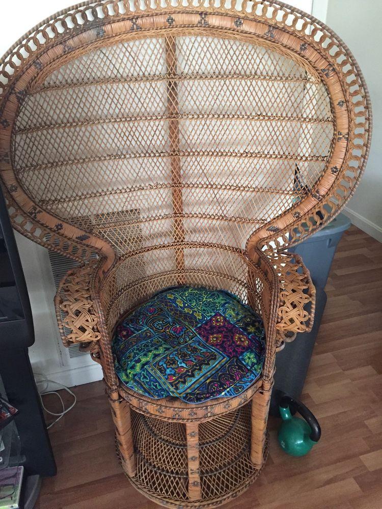 peacock wicker chair vintage