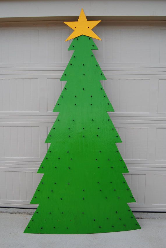lighted wooden christmas tree - Lighted Christmas Tree Yard Decorations