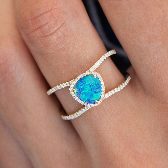 14kt gold and diamond Petite Triangle Double Band Opal ring – Luna