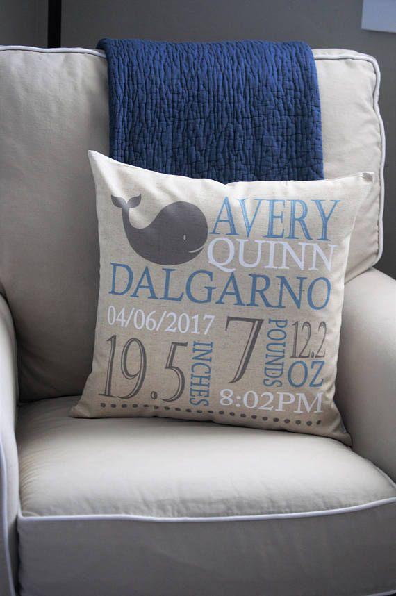 whale pillow - whale nursery theme - nautical nursery