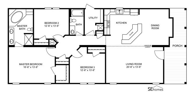 Interactive Floorplan The Ocean View Ez 450 43eze28643ah Clayton Homes Of Mobile Clayton Homes Floor Plans Modular Homes