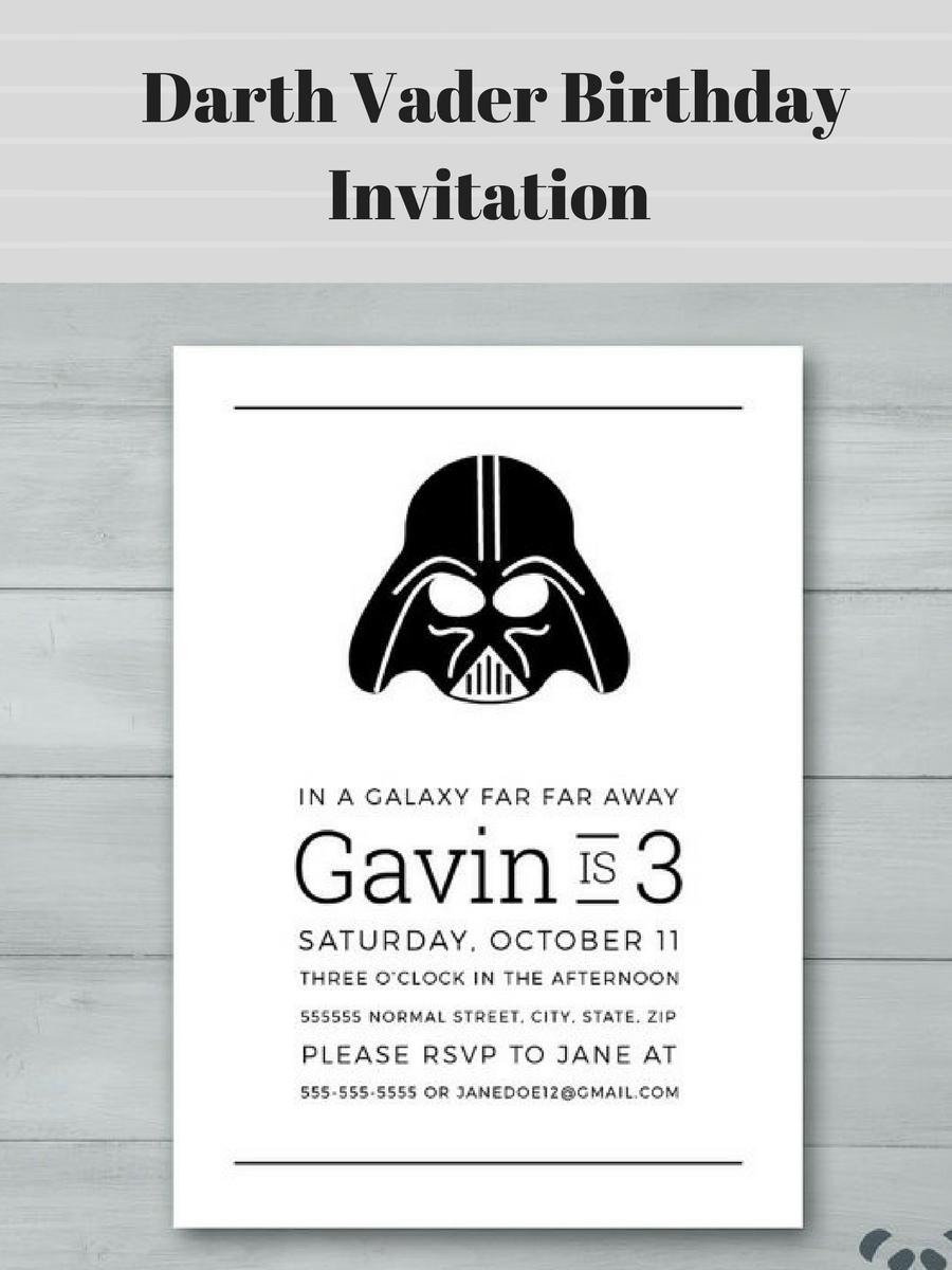 Downloadable Printable Star Wars Darth Vader Birthday Invitation Affiliatelink Starwars Darthvader