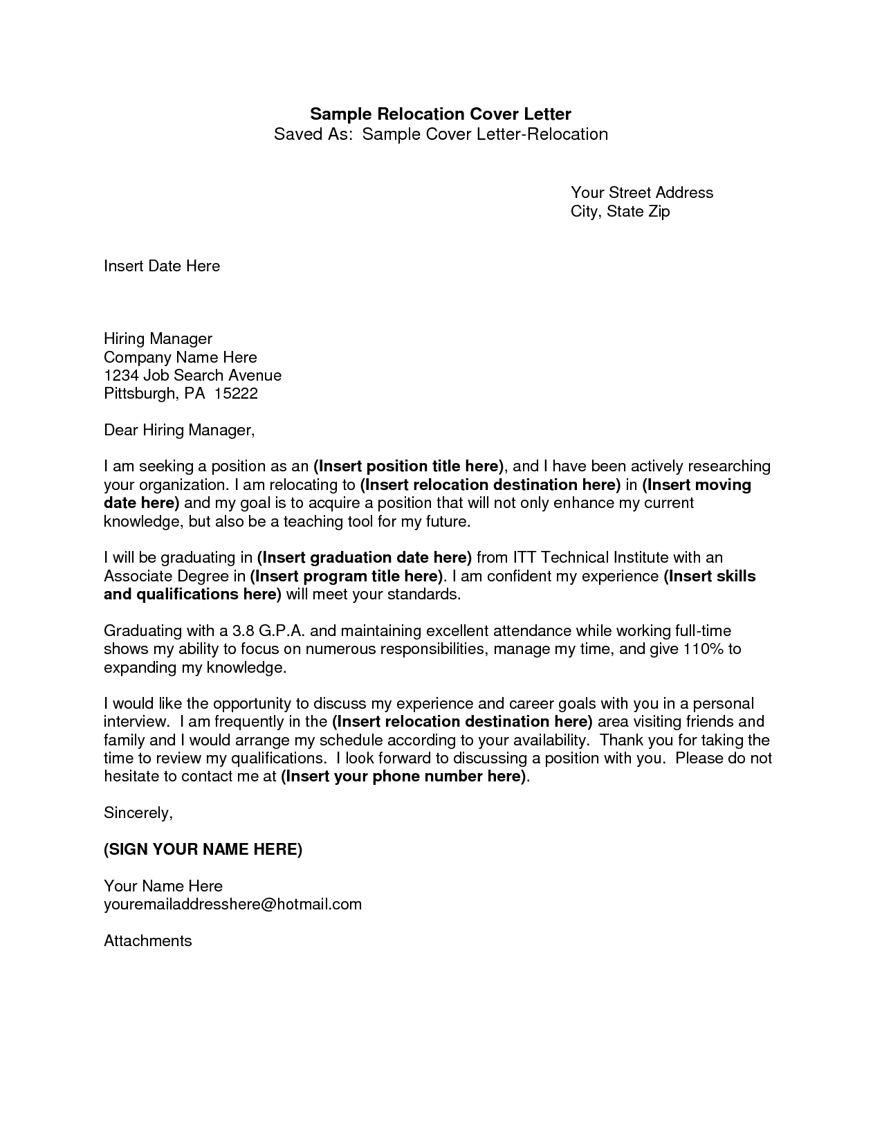 Covering Letter Example Writing A Cover Letter Relocation