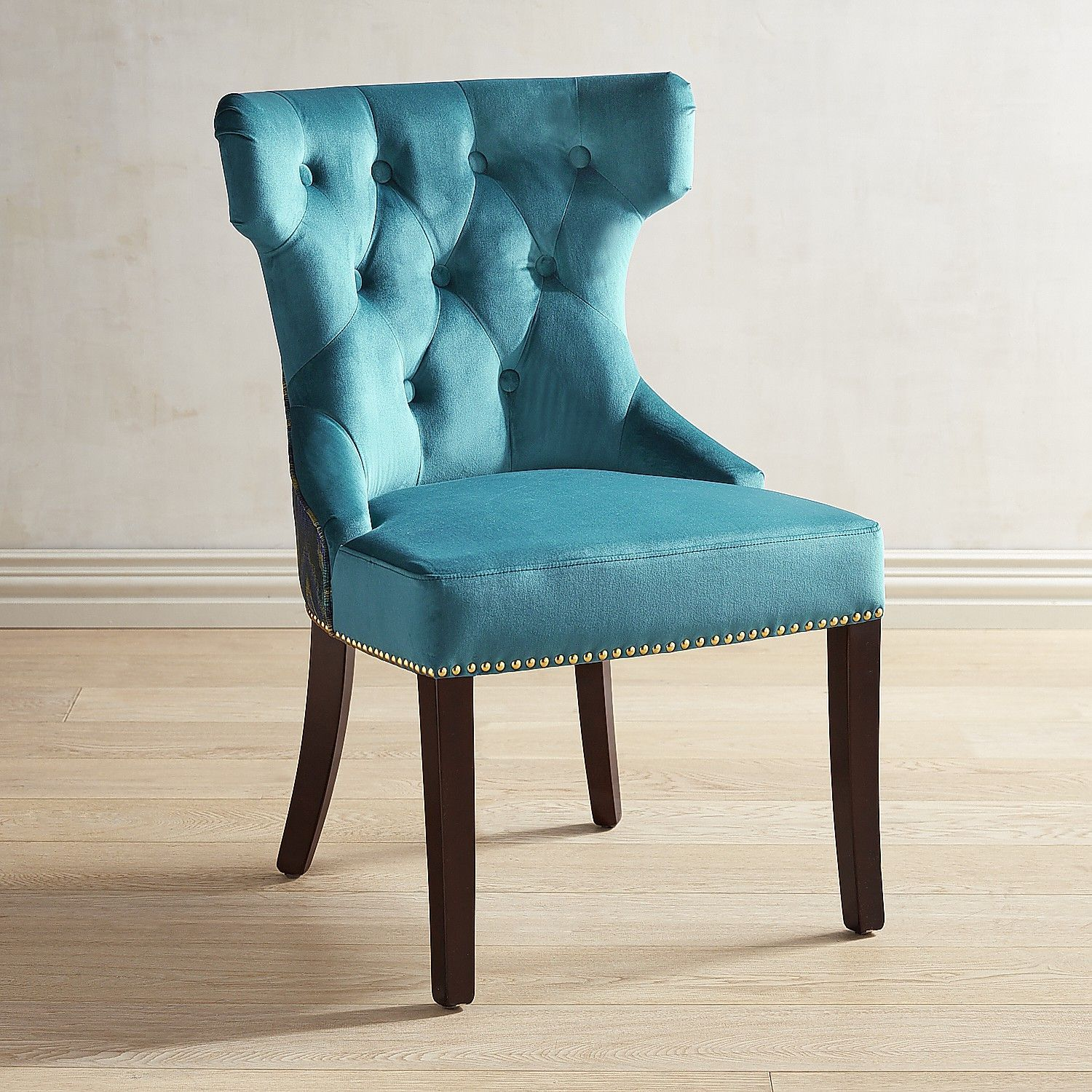 Hourglass Plume-Teal Dining Chair With Espresso Wood