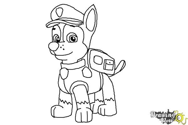 How To Draw Chase From Paw Patrol Step 10 Paw Patrol Coloring Pages Paw Patrol Coloring Chase Paw Patrol