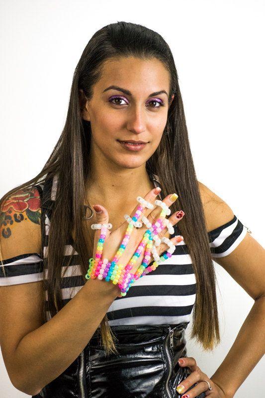 Glow in the Dark Rainbow Kandi Fingerlet