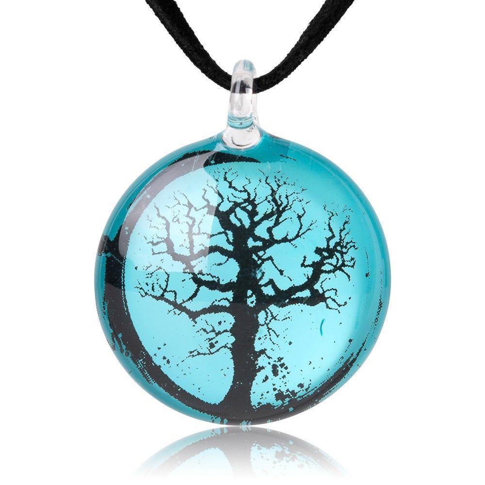 SUVANI Hand Blown Venetian Murano Glass Ocean Blue Sea Shell Shaped Pendant Necklace 18-20 inches