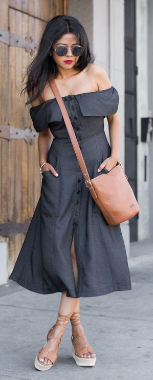 Dark Grey Off The Shoulder Dress by Walk In Wanderland
