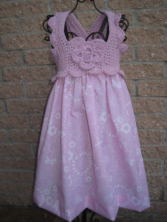 Solera niña con canesu a crochet