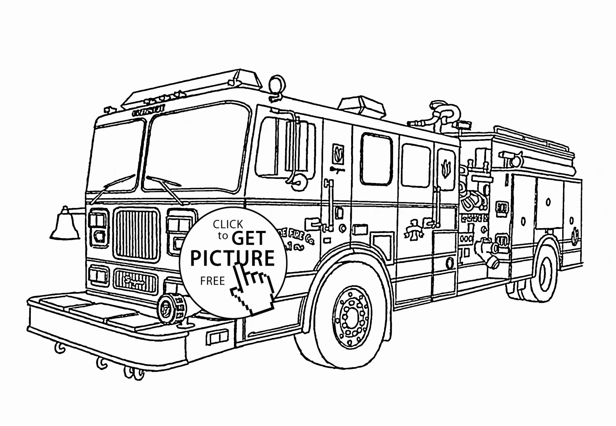 32 Coloring Page Fire Truck