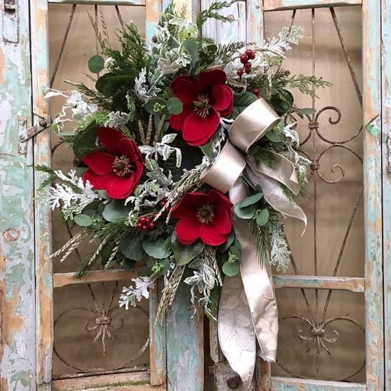 Photo of Christmas Wreath, Christmas Magnolia Wreath, Christmas Wreaths