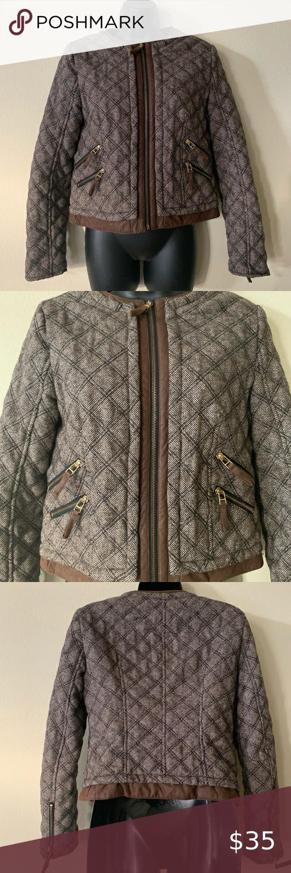 Zara Brown Quilted Tweed Bomber Jacket Medium Jackets For Women Zara Bomber Jacket [ 1740 x 580 Pixel ]