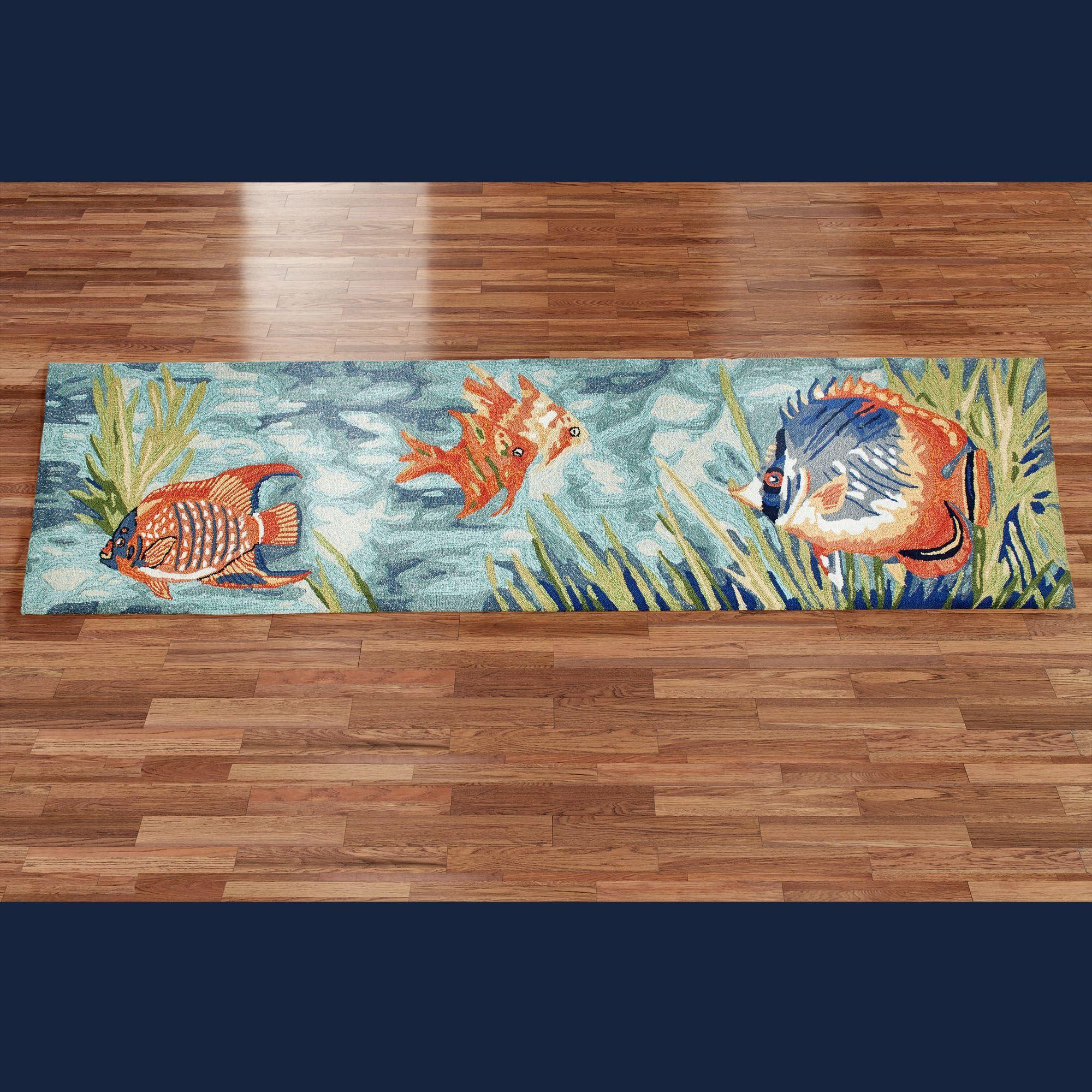 Tails of the Sea Indoor Outdoor Fish Rug Runner | Indoor outdoor ...