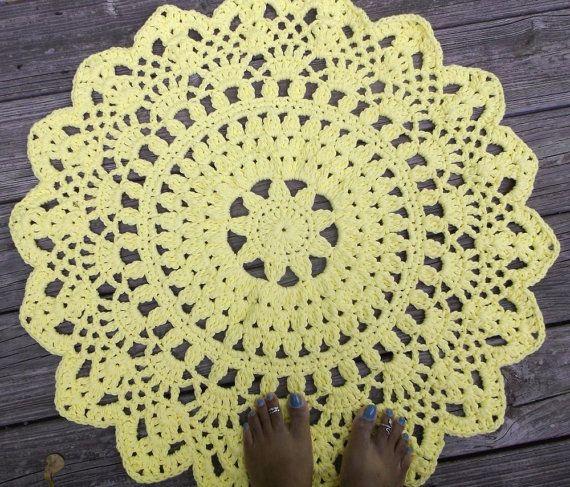 Amarillo algodón Crochet tapete alfombra en 30/ 76,20 cm círculo ...