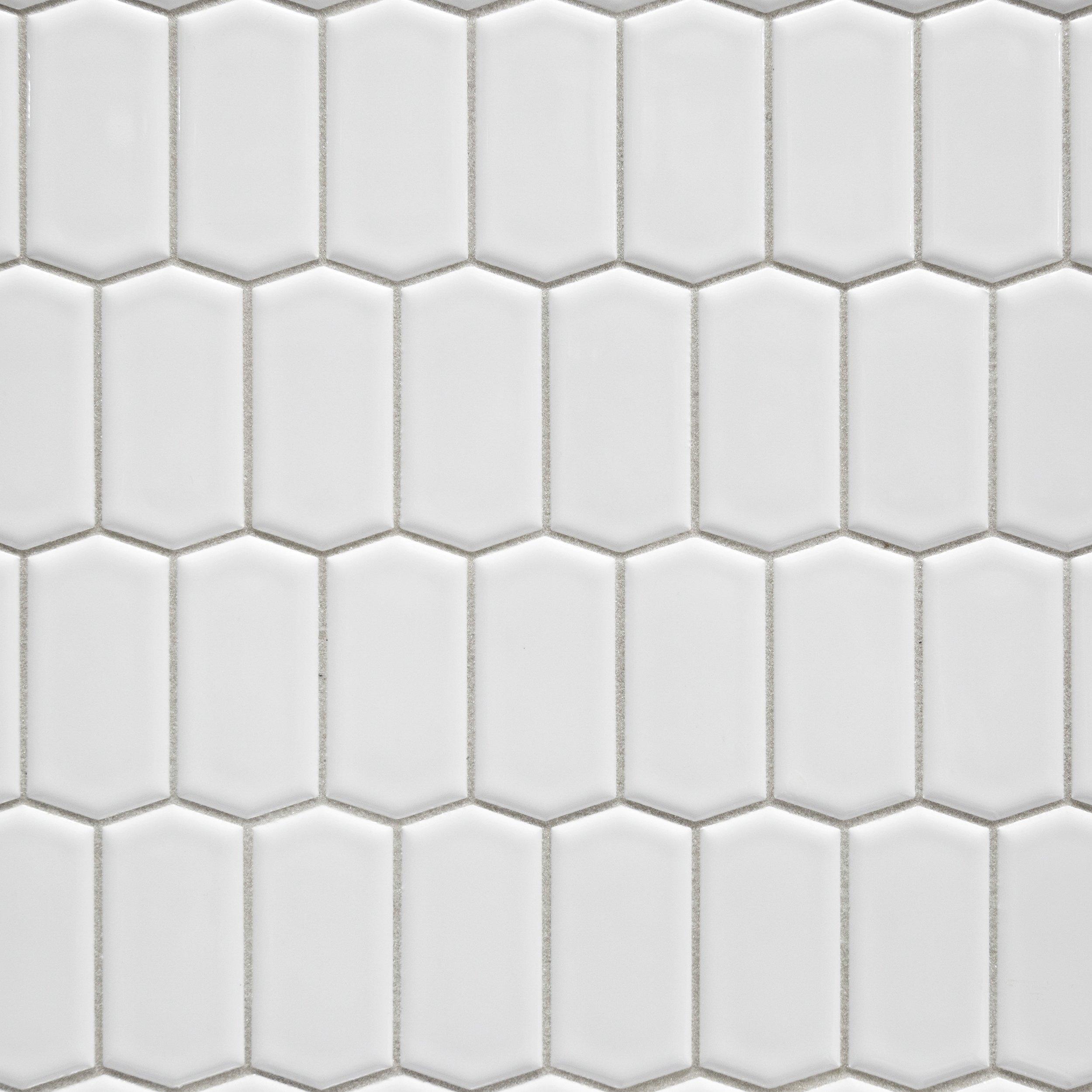 White Offset Picket Porcelain Mosaic Tiles Porcelain Tile Decorative Tile Backsplash