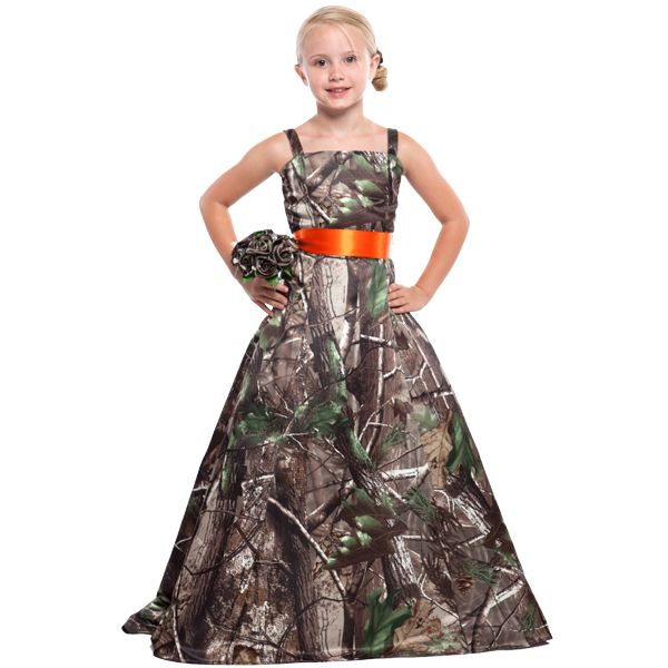 Realtree Girls Gown With Sash Snow Camo WeddingDream