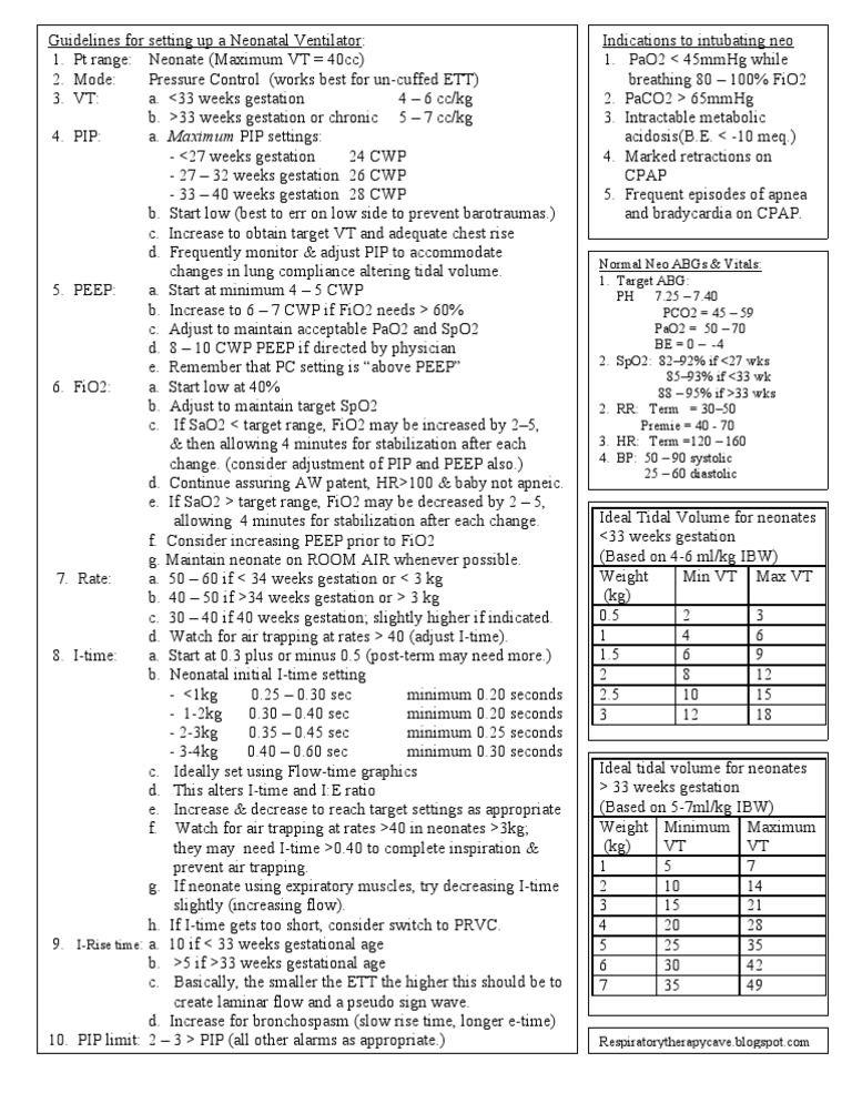 Guidelines For Setting Up A Neonatal Ventilator 1 Pt Range