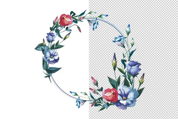 Flower Wreath In Watercolor Clipart by MyStocks on @creativemarket