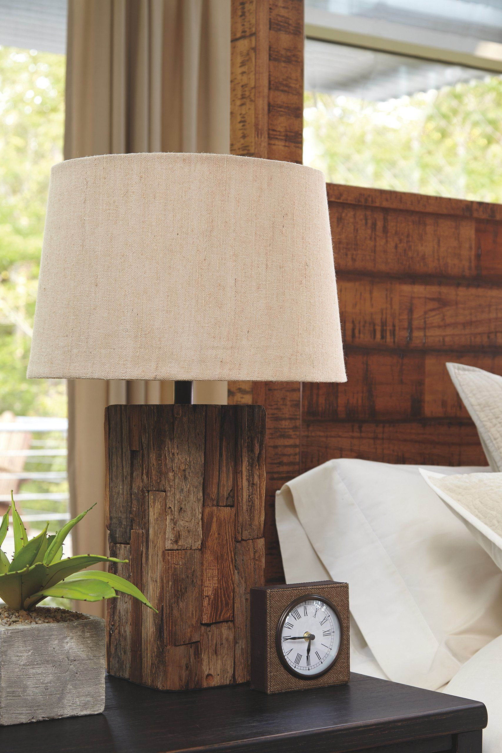 Ashley Furniture Signature Design Selemah Table Lamp Reclaimed Wood Base Light Brown Want Ad Table Lamp Wood Decorative Table Lamps Beautiful Table Lamp