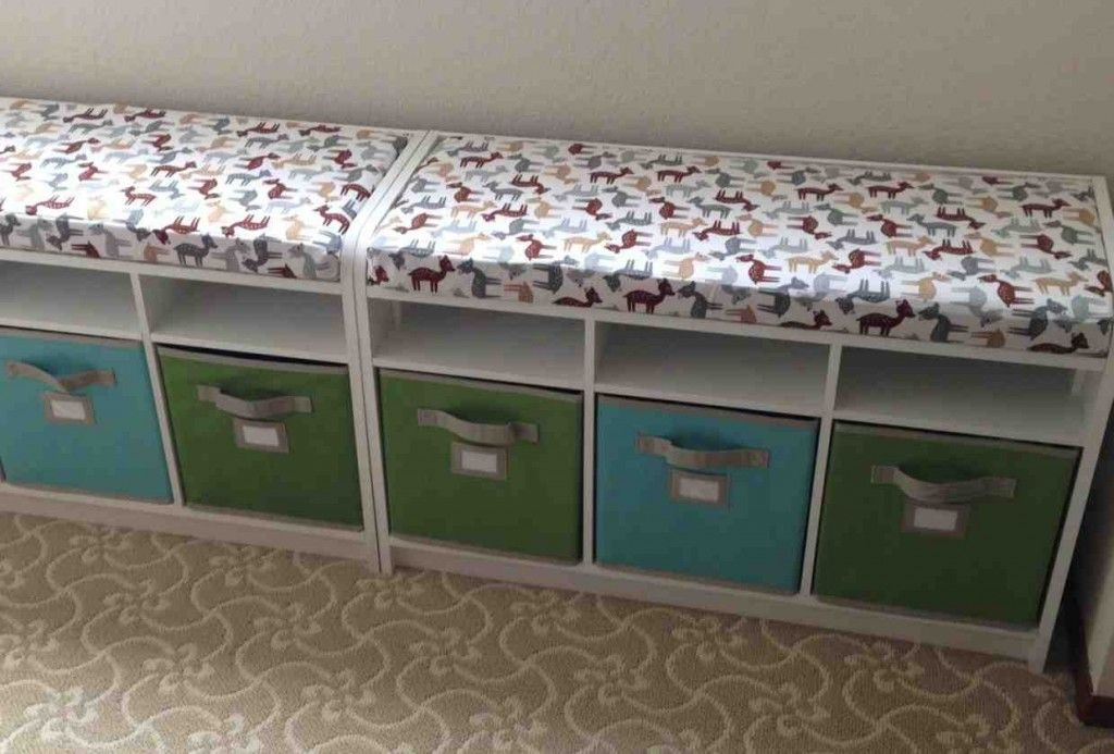 Storage Bench With Cushions And Storage Bins Storage Bench With