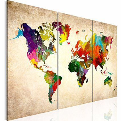 Weltkarte SENSATIONSPREIS !!! 120x80 Cm !!! 100 % MADE IN GERMANY !!!  Wasserfester Leinwanddruck XXL Bilder Vlies Leinwand Wandbild World Map  Fertig ...