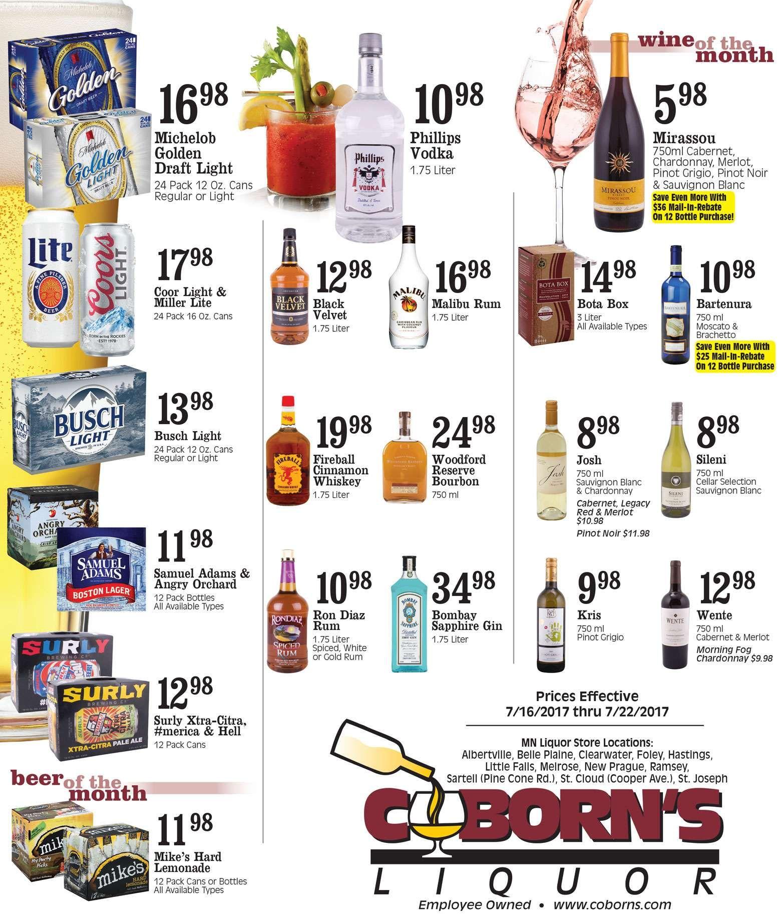 Coborn S Liquor Ad July 16 22 2017 Http Www Olcatalog Com Coborns Coborns Liquor Ad Html Liquor Weekly Ads Malibu Rum