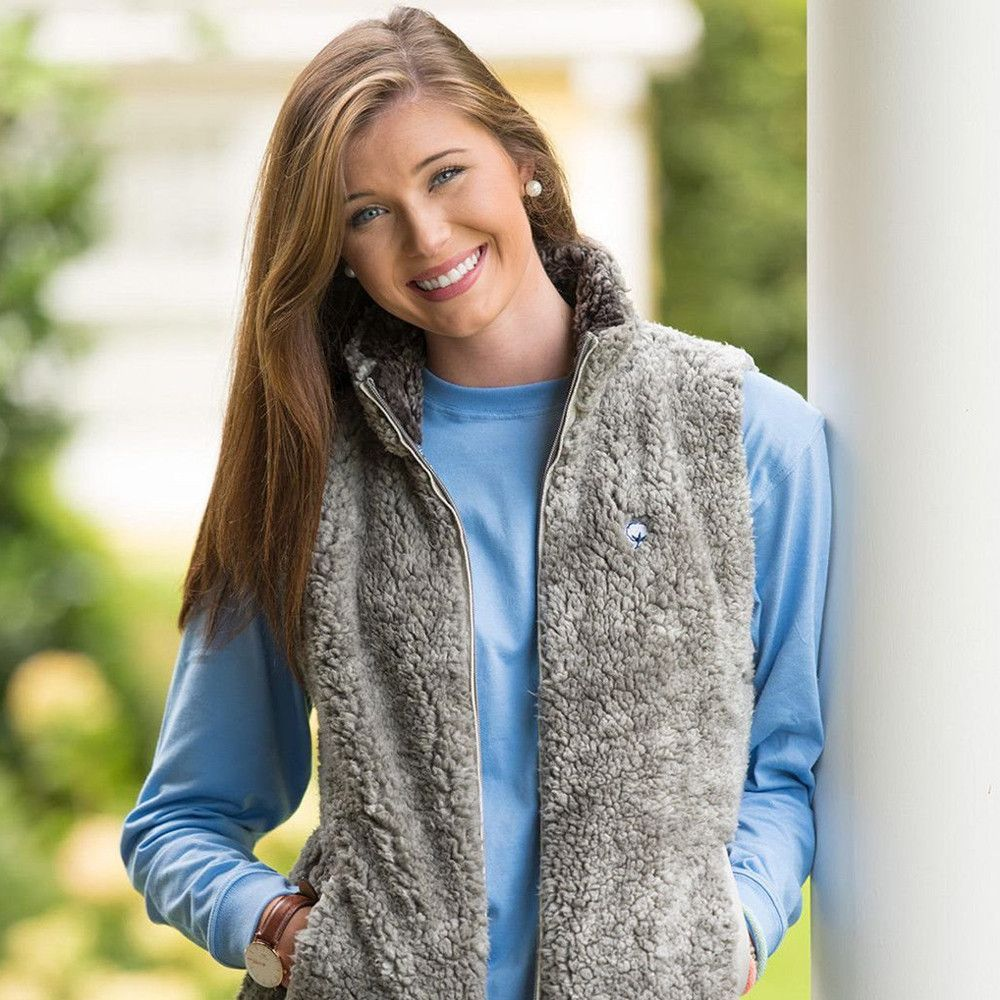 Southern Shirt Company Heathered Zip Sherpa Vest in Moon Mist