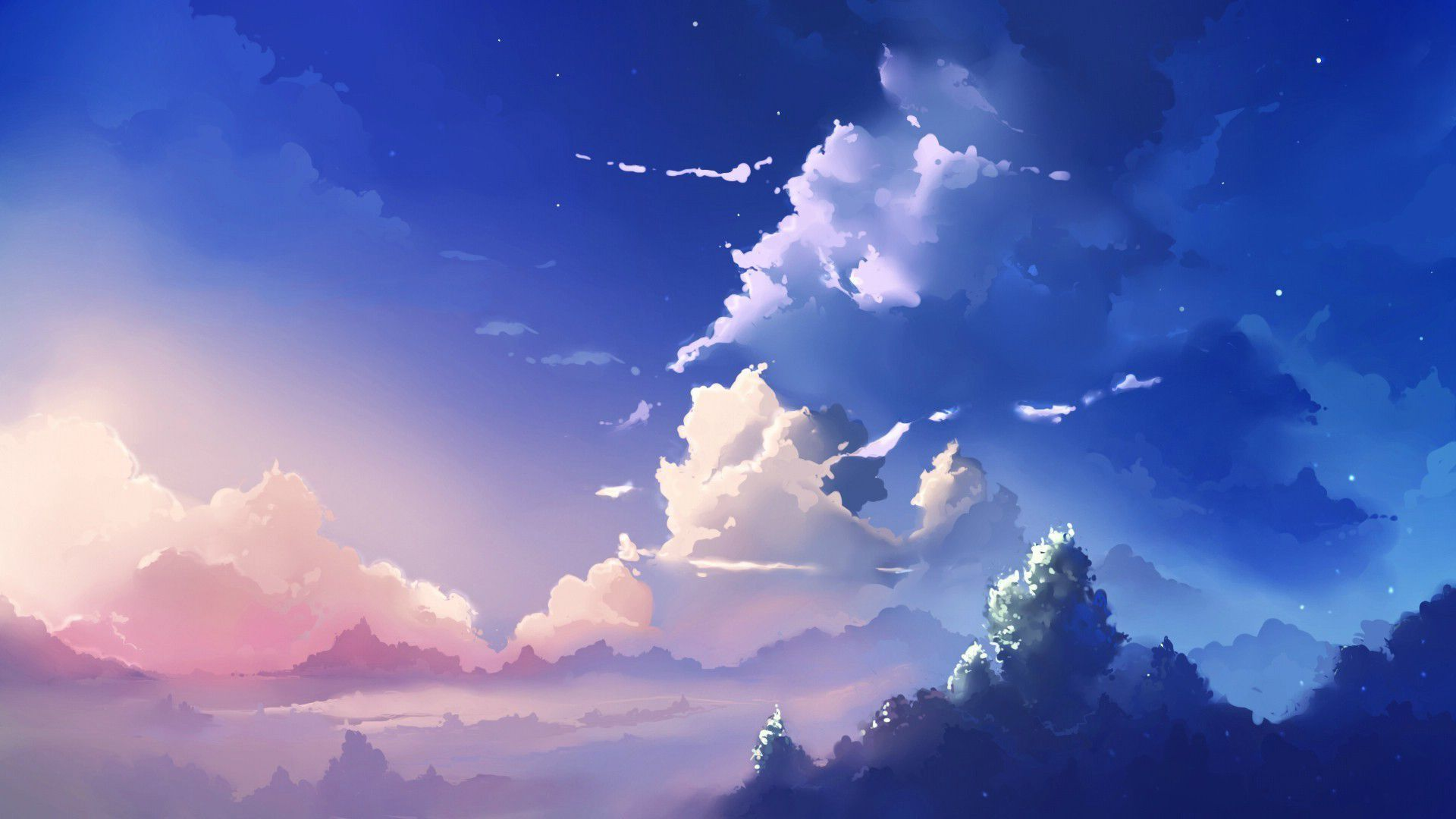 General 1920x1080 Sky Clouds Scenery Wallpaper Anime Backgrounds Wallpapers Anime Scenery
