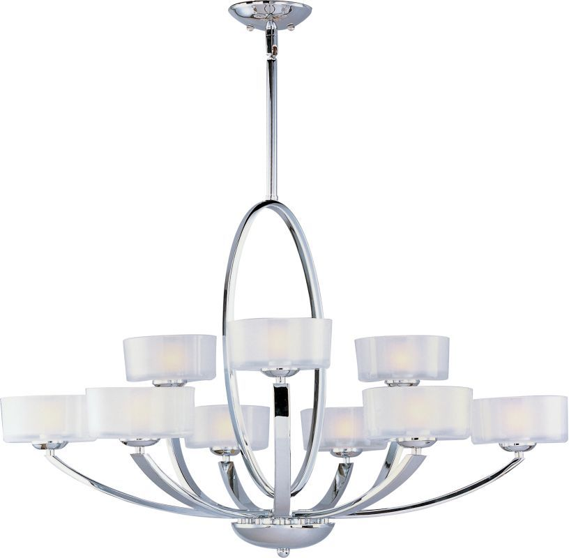 Maxim 19046 Elle 9 Light Double-Tier Chandelier Polished Chrome / Frosted Glass Indoor Lighting Chandeliers