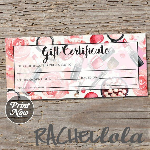 Red makeup, printable Gift Certificate template, spring, direct