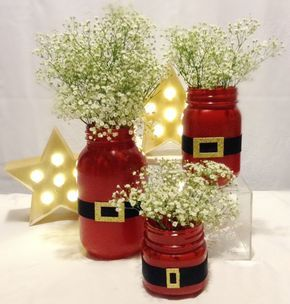 This listing is for Santa suit mason jars in various sizes and quantities! Great for gifts, centerpieces, and flowers! If the insides of the jars are painted, it is not recommended that you store food #xmasdecorations