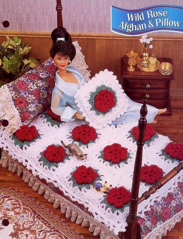 Wild Rose Afghan & Pillow, Annie\'s Fashion Doll Crochet Pattern ...