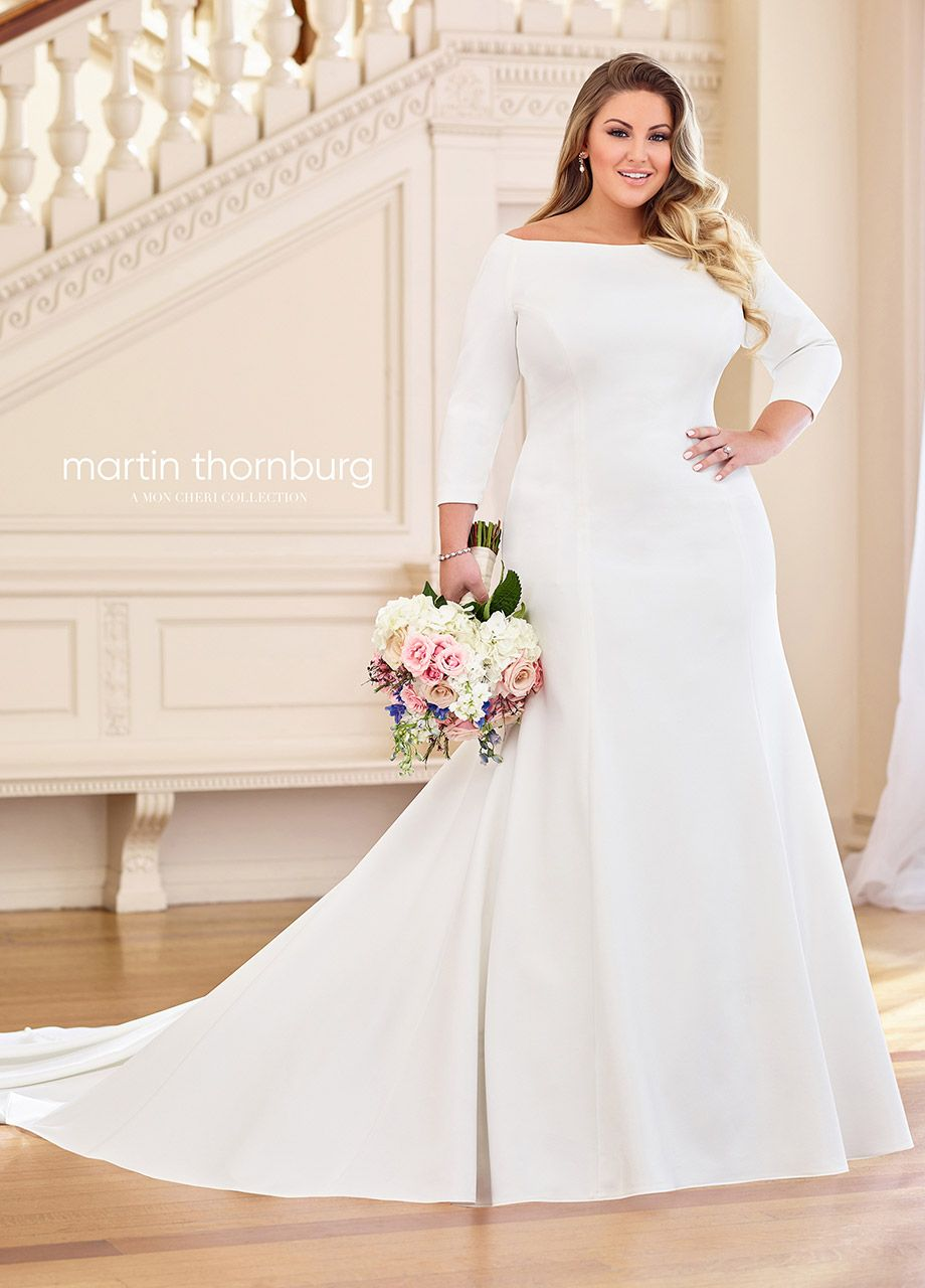 Martin Thornburg 119255w Naomi Bateau Neck Plus Size Wedding Dress Plus Size Wedding Dresses With Sleeves Plus Wedding Dresses Wedding Dresses Plus Size [ 1280 x 920 Pixel ]