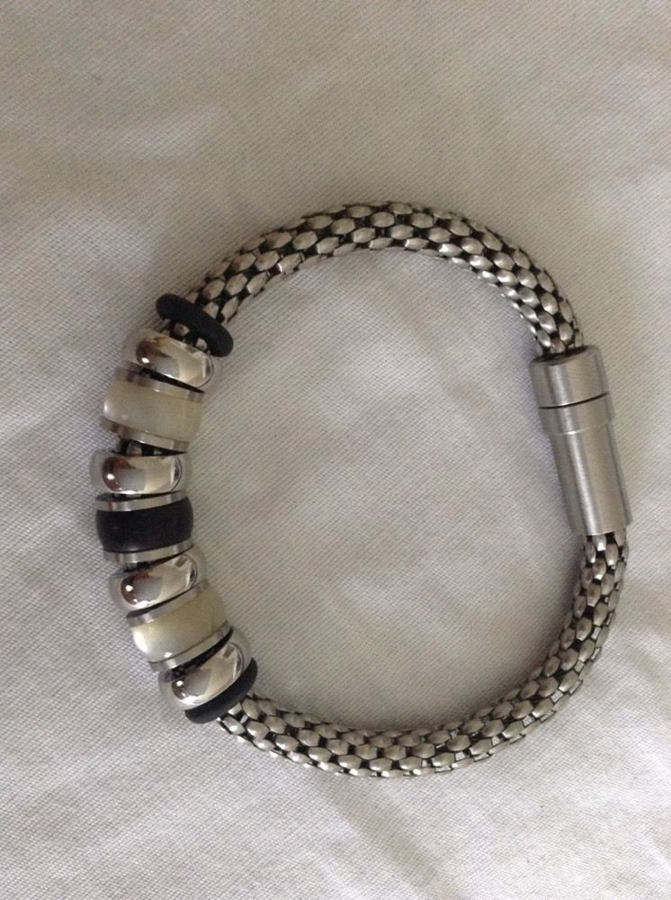 Teno Bracelet Stainless Steel Mother Pearl Cuff Bangle