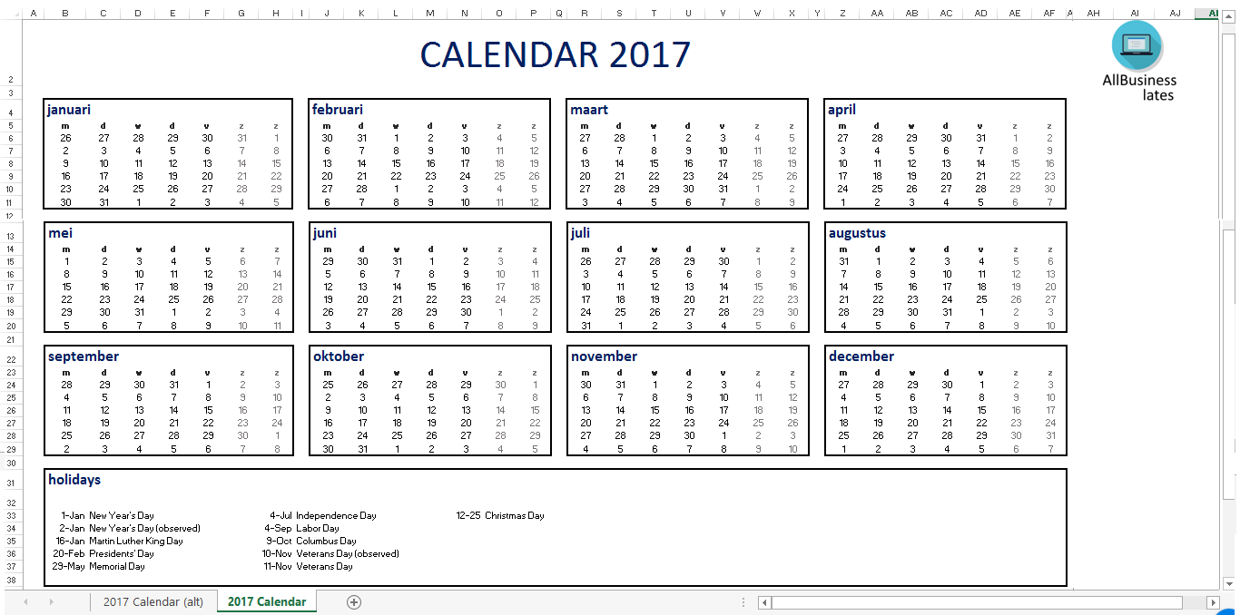 Calendar Excel En A Size  Download Our Free Printable