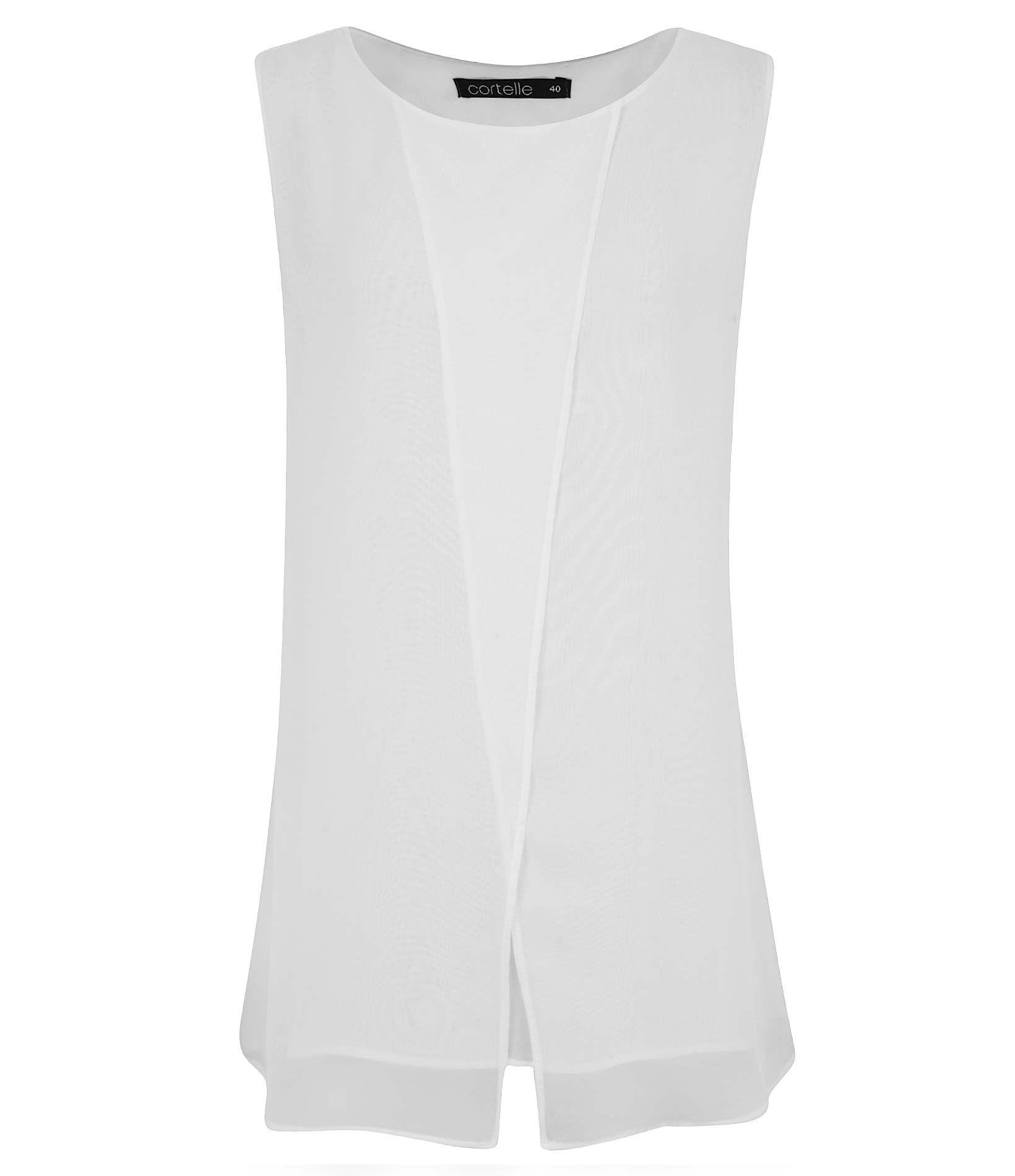 Blusa em crepe modelo sem manga e decote redondo, recorte vertical na parte frontal.